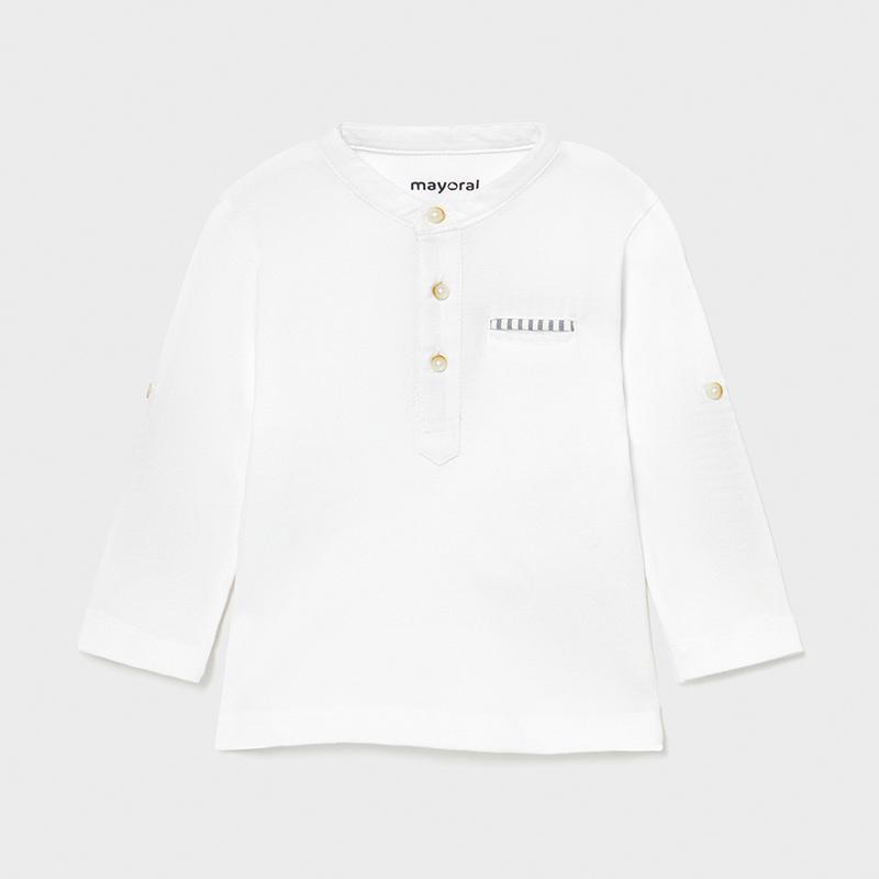 Camiseta manga larga panadera bebé niño. Trabilla y botón en el lateral para poder recogerla y ajustar el largo. Cuello mao al tono