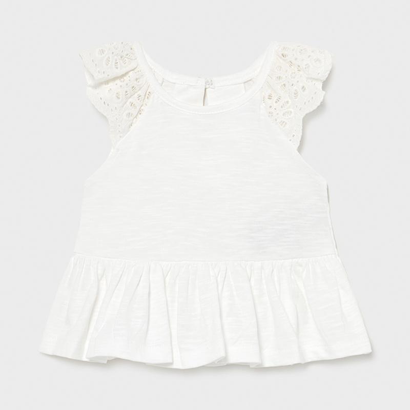 Camiseta manga corta flame bebé niña. Diseño con corte a la cintura. Cierre con un único botón. Tejido 100% algodón.Volantes decorativos