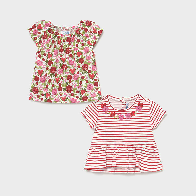 Set 2 camisetas rojo Ecofriends bebé niña. Juego de camisetas, una rayas y otra estampada en color amapola.Volante en el bajo.