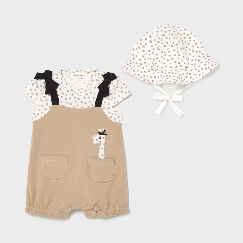 Pelele punto con gorro jirafa recién nacida niña. Conjunto muy cómodo y fresquito con gorrito a juego, detalle de jirafa en el bolsillito.