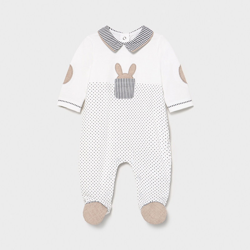 Pijama punto combinado recién nacido niño. Cierre con botones a presión en la parte posterior . Suave tejido de algodón elástico.