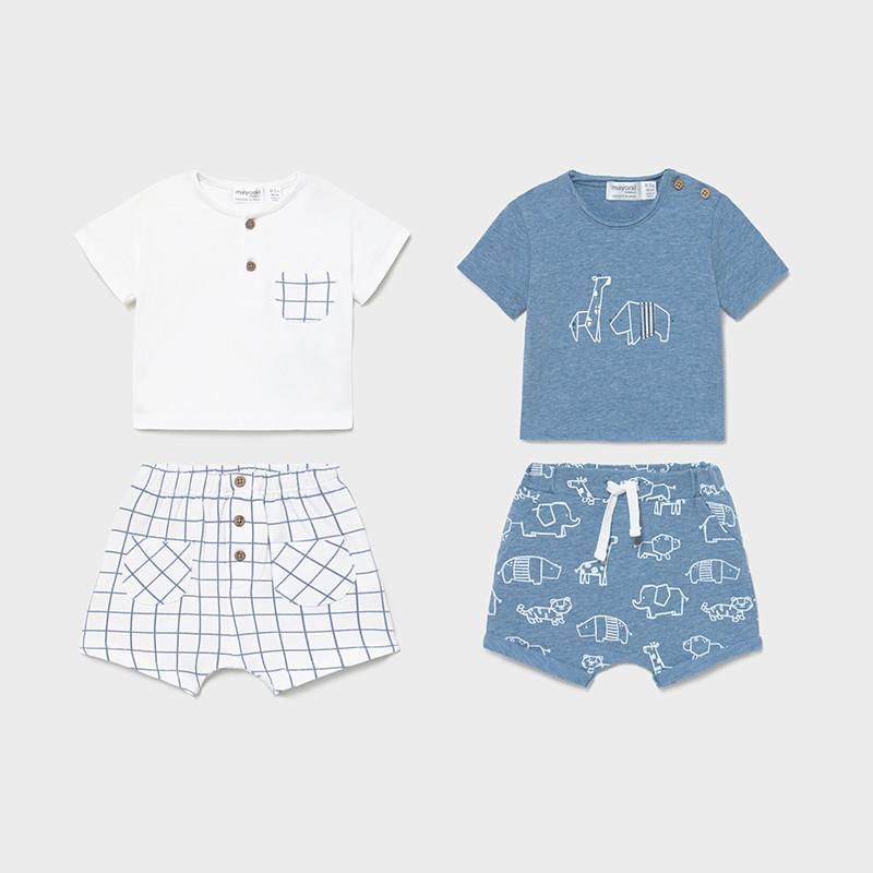 Conjunto 4 piezas punto animales + cuadros Mayoral. Podrás vestir a tu peque con conjuntos sport, ideales para el día a día, dar un paseo.