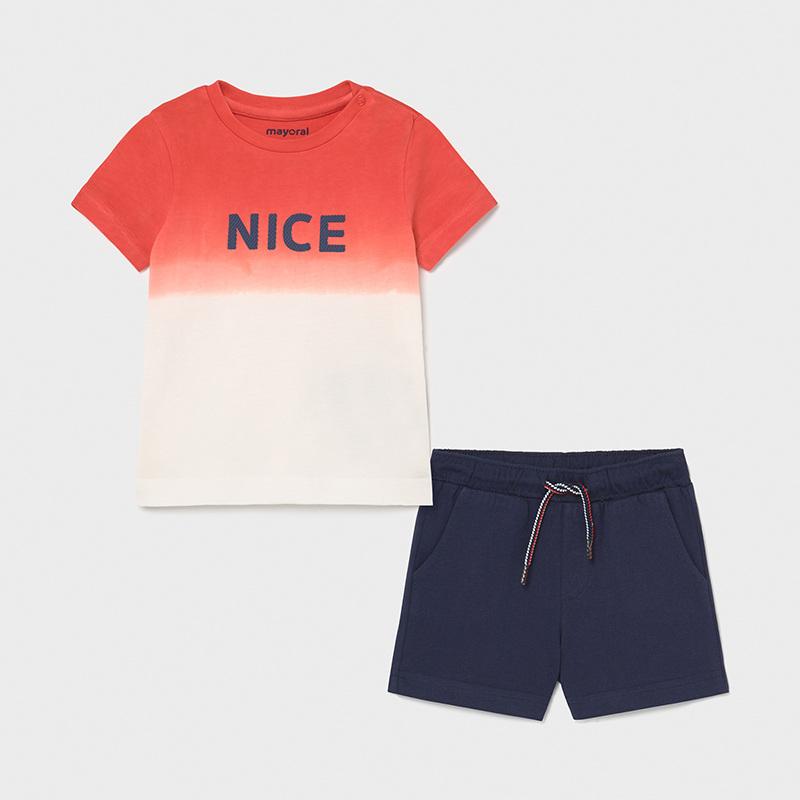Conjunto punto 2 piezas bebé niño dip dye. Camiseta de manga corta para bebé niño.Pantalón cintura elástica con cordón ajustable. Color ciber.
