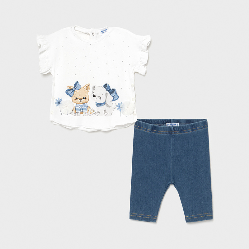 Conjunto leggings punto denim bebé Mayoral. Camiseta con puntitos plata y serigrafía de perritos. Leggings efecto vaquero.