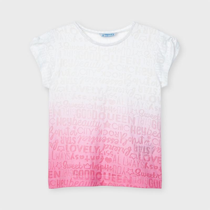 Camiseta manga corta degradé niña mayoral. Combinación bicolor. Color camelia. Tejido fluido de algodón y elástico, para en el día a día.