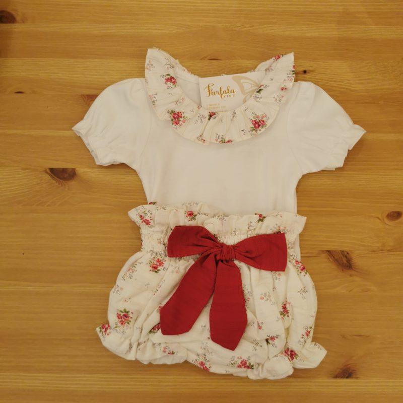 Conjunto dos piezas Cuba Farfala Kids. Body de algodón con cuello de tela a juego con la ranita, lazada en cintura a contraste.