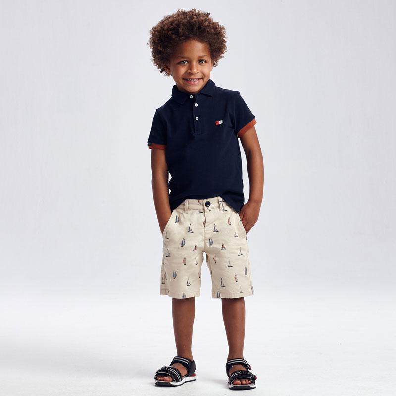 Conjunto bermuda estampada polo Mayoral. Conjunto de polo de manga corta y bermudas combinadas para niño de 2 a 9 años. 100% algodón