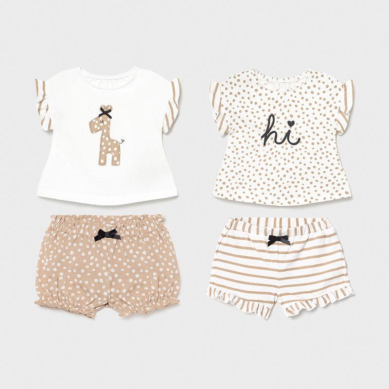 Conjunto punto 4 piezas recién nacida niña Jirafa. 0 a 18 meses formado por dos conjuntos de camiseta de manga corta y short combinables.